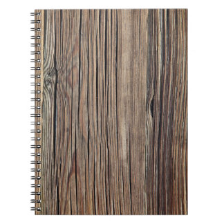 Weathered Wood Grain Plank Background Template Spiral Notebook