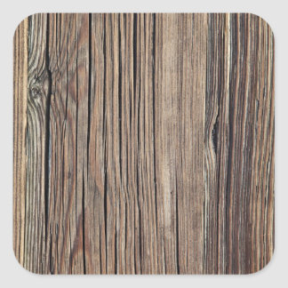 Weathered Wood Grain Plank Background Template Square Sticker