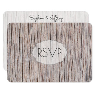 Weathered Wood Grain Wedding Entrees RSVP Card