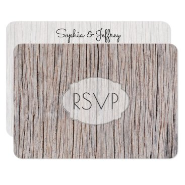 Beach Themed Weathered Wood Grain Wedding Entrees RSVP Card
