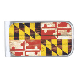 Weathered wood Maryland flag money clip