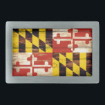 "Weathered wood Maryland flag rectangle belt buckle<br><div class=""desc"">Weathered wood Maryland flag rectangle belt buckle</div>"