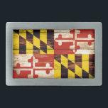 """Weathered wood Maryland flag rectangle belt buckle<br><div class=""""desc"""">Weathered wood Maryland flag rectangle belt buckle</div>"""