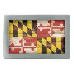 Weathered wood Maryland flag rectangle belt buckle<br><div class='desc'>Weathered wood Maryland flag rectangle belt buckle</div>