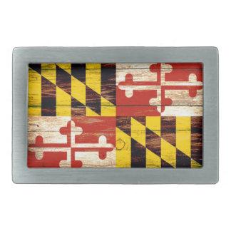 Weathered wood Maryland flag rectangle belt buckle