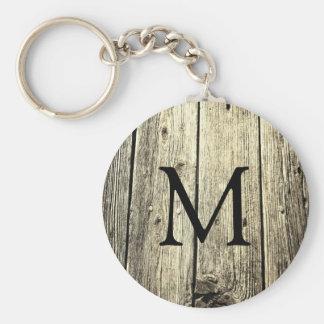 Weathered Wood Monogram Keychain