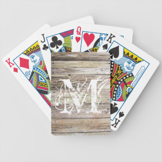 Weathered Wood Monogrammed Bicycle Playing Cards