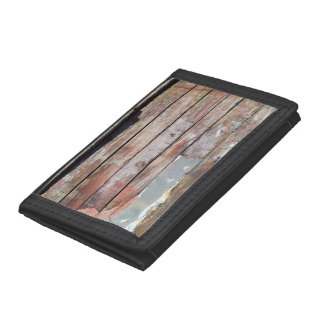 Weathered Wood Plank Rustic Photo Trifold Wallet