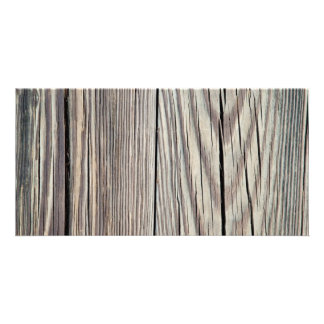 Weathered Wood Plank w Grain Background Template Photo Card