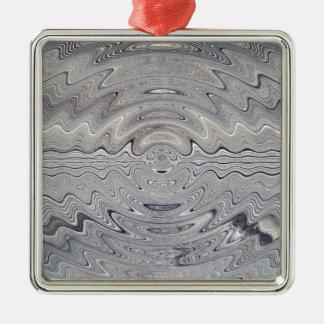 weathered wood rippled metal ornament