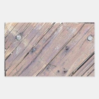Weathered Wood Rough Textured Deck Rectangular Sticker