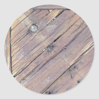 Weathered Wood Rough Textured Deck Classic Round Sticker