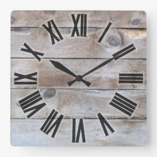 Weathered wood square wall clock