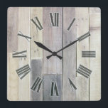 """Weathered Wood Square Wall Clock<br><div class=""""desc"""">An interesting collection of bleached wood colors. Great for a den or rustic log cabin getaway.</div>"""