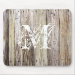 """Weathered Wood with Shabby Chic Monogram Mouse Pad<br><div class=""""desc"""">Detailed photograph of weathered old boards on a dock. Shows wood grain, knots, and aging in these beautiful boards that have been exposed to sun, moisture and salt for many years. Add a custom monogram in a Lacy weathered look and you&#39;ve got rustic elegance of shabby chic for any cowgirl...</div>"""