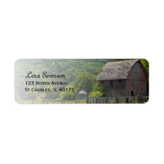 Weathered Wooden Country Barn Return Address Label
