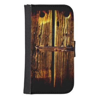 Weathered Wooden Door And Latch Rustic Phone Wallet