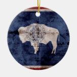 Weathered Wyoming Flag Ceramic Ornament