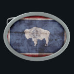 "Weathered Wyoming Flag Oval Belt Buckle<br><div class=""desc"">Wyoming Flag; Wyomingite</div>"