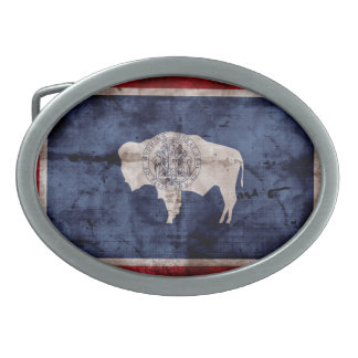 Weathered Wyoming Flag Oval Belt Buckle