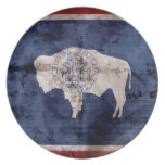 Weathered Wyoming Flag Plate