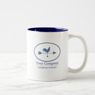 Weathervane del azul de la pequeña empresa taza de café de dos colores