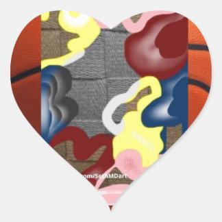 Weave Basketball Heart Sticker