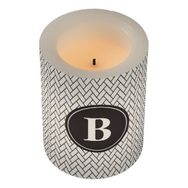Beach Themed Weave Pattern Monogram Flameless Candle