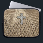 "Weaved Laptop Case with Rhinestone &amp; Pearl Cross<br><div class=""desc"">Check out this awesome one of a faux kind designed item.. Oh How pretty... With it&#39;s faux weaved background and pretty rhinestone &amp; pearl cross. Very classy looking, But with a touch of FUN... personalize it anyway you like... need matching postage, business card, envelope, stationary, tee shirt etc. If you...</div>"