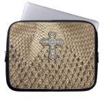 Weaved Laptop Case with Rhinestone & Pearl Cross Laptop Sleeve