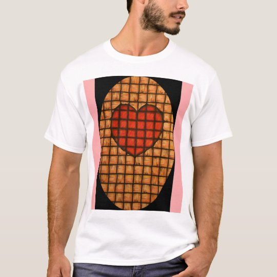 weaved red heart with pink T-Shirt