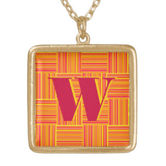 Weaved Stripes Square Pendant Necklace