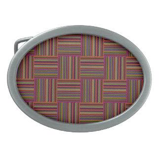Weaved Zig-Zag Stripe Oval Belt Buckle