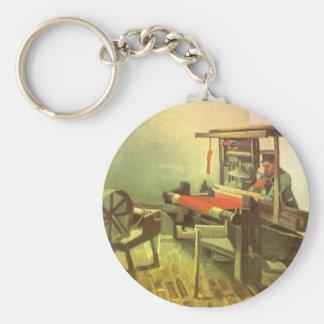 Weaver Facing Left Spinning Wheel Vincent van Gogh Basic Round Button Keychain