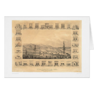 Weaverville, mapa panorámico 1856 (1846A) del CA Tarjeta De Felicitación
