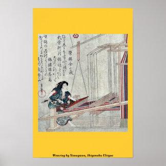 Weaving by Yanagawa, Shigenobu Ukiyoe Poster