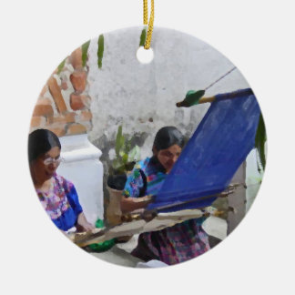 Weaving in Antigua drybrush Ceramic Ornament