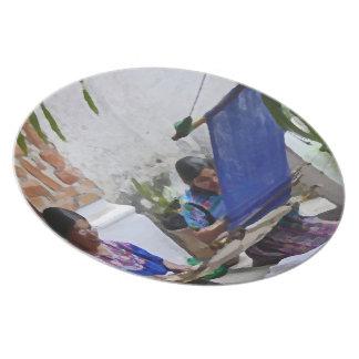 Weaving in Antigua drybrush Melamine Plate
