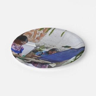 Weaving in Antigua drybrush Paper Plate