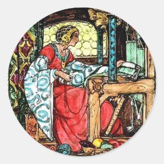Weaving Woman Classic Round Sticker