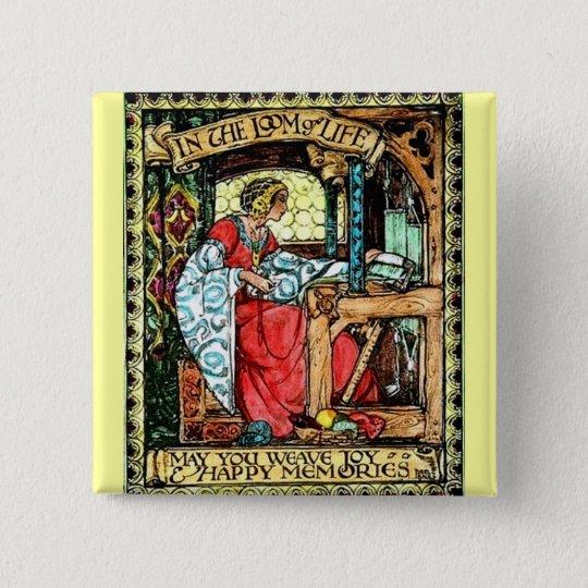 Weaving Woman Pinback Button