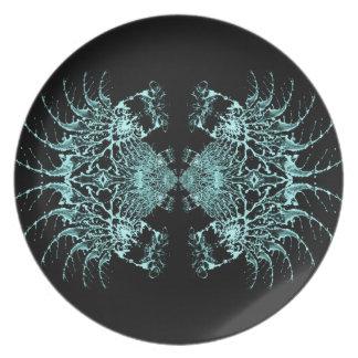 Web azul líquido platos para fiestas