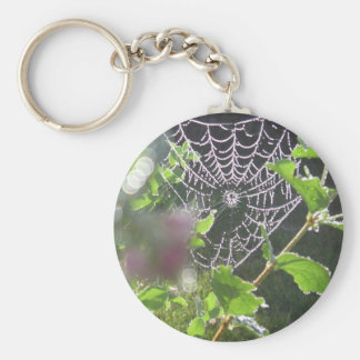 web covered  in the dew basic round button keychain