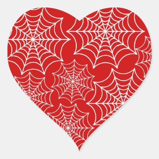 Web de araña adaptables pegatina en forma de corazón