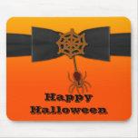 Web de araña anaranjado y negro de Bling Alfombrillas De Ratones