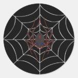 Web de araña de Halloween Etiquetas Redondas