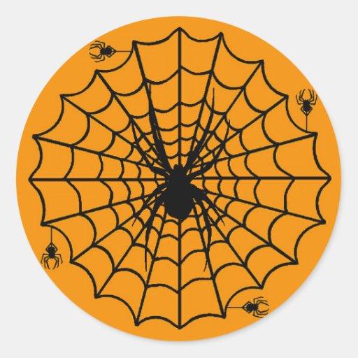 Web de araña de Halloween Pegatinas Redondas