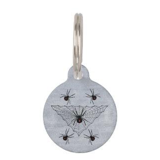Web de araña de la viuda negra Halloween gótico Placa Para Mascotas