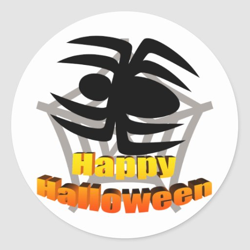Web de araña del feliz Halloween Pegatinas Redondas