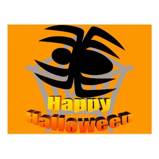 Web de araña del feliz Halloween Tarjeta Postal